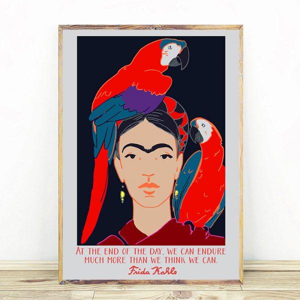Frida Kahlo And Parrots And Citates Mockup 05