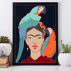 Frida Kahlo and Two Parrots