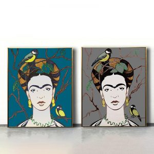 Set of 2 Frida Kahlo And Tit Turquoise And Dark Gray