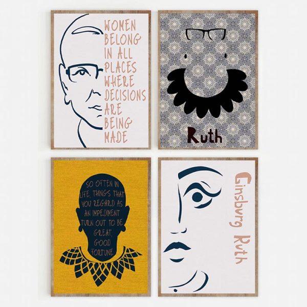 Set of 4 Ruth Ginsburg Color Mockup 03